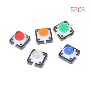 5pcs 12x12x7 3 Tactile Push Button Switch Momentary Tact Led_chhaex