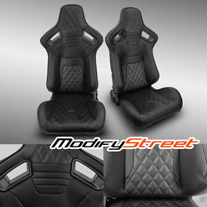 2 X Black Pvc Leather black Stitch Left right Racing Bucket Seats