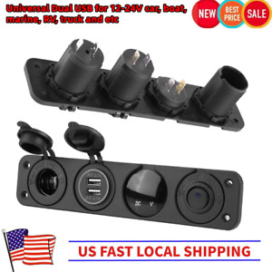 Universal Toggle Rocker Switch Panel W Dual Usb Car Boat Marine Rv Truck Led Us