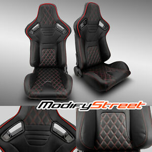 2 X Black Pvc Leather red Stitch Left right Racing Bucket Seats Pair