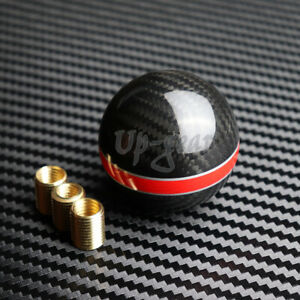 Universal Real Carbon Fiber Ball Manual Mt Gear Red Stripe Shift Shifter Knob