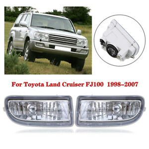 2pcs Front Fog Light Clear For Toyota Land Cruiser F100 1998 2007 Bumper Lamp