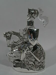 Antique Decanter Novelty Knight Errant American Glass Silver Overlay