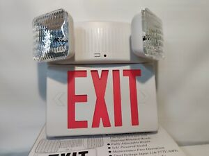 Combination Exit Sign And Emergency Fixture With Dual Top mounted Light Heads