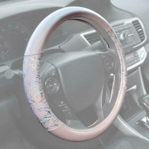 Pink Shiny Glitter Sparkly Leather Steering Wheel Cover Universal Size