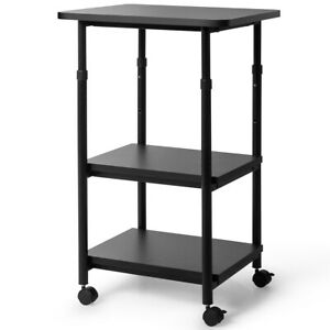 3 tier Adjustable Printer Stand With 360 Swivel Casters black