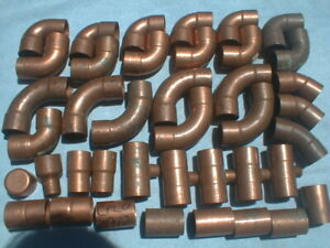 47 assorted copper Sweat slip solder Fittings 40 1 1 4 7 1 1 2 w Free Shipping
