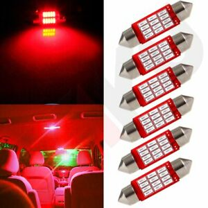 6x Red Car Led Interior Festoon Lamp 4014 12smd Dome Map Trunk Light Bulbs 36mm