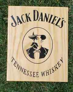 Jack Daniels sign Tennessee Whiskey distillery bar decor bar art carved wood