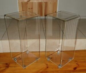 Vintage Mid Century Modern Acrylic Lucite Waterfall Rolling Cart Display Stand