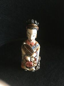 Vintage Ivory Carved Figural Oriental Snuff Bottle Chinese Good 3 1 4 Tall
