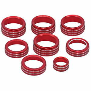 New 8x Red Ac Switch 4wd Release Mirrors Control Knob Ring Trim For Ford F150