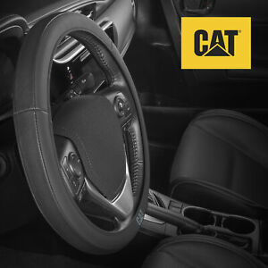 Caterpillar Easy Wrap Leather Steering Wheel Cover Universal Fit 14 5 15 5