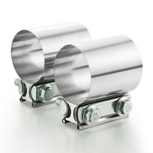 2x 2 5 2 1 2 Stainless Steel Butt Joint Band Exhaust Clamp Sleeve Coupler T304
