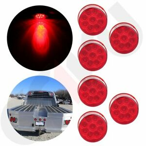 6x 2 Round Led Side Marker Light Red 9 Led W Flower Petal Look Trailer Lamp