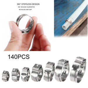 Quality 140x 7 21mm Stainless Steel Single Ear Stelpess Hose Clamp Assorted Kit