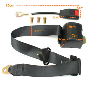 Universal 3 Point Safety Seat Belt Strap Heavy Duty Retractable Fixed Adjustable