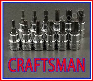 Craftsman 12pc 3 8 Sae Metric Hex Allen Key Bit Ratchet Wrench Socket Set