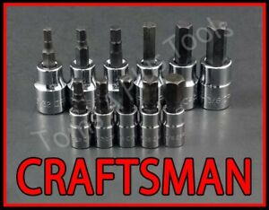 Craftsman Tools 11pc 1 4 3 8 Sae Hex Allen Key Bit Ratchet Wrench Socket Set
