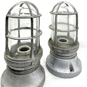 Vintage Appleton Form 100 Explosion Proof Light Fixture Set W Cage