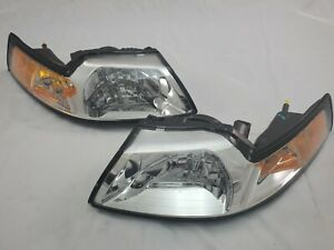 For 1999 2004 Ford Mustang Chrome Direct Replacement Headlight Set New