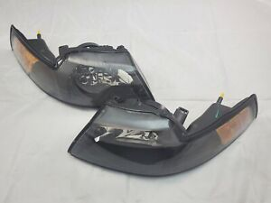 1999 2004 Ford Mustang Direct Replacement Headlight Set Black Housing