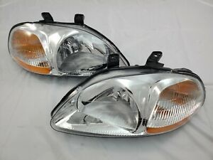 For 1996 1997 1998 Honda Civic Jdm Chrome Complete Replacement Headlight Set