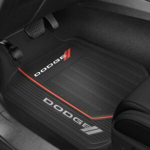 2 Dodge Logo Floor Mats Front Rubber All Weather Factory Liners Black