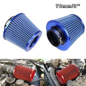3inch Blue Car Inlet Short Ram Cold Air Intake Round Cone Filter Universal