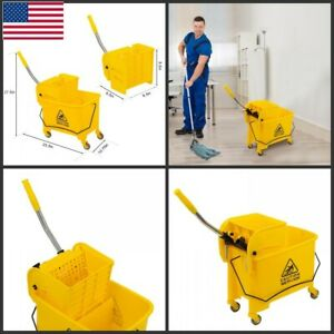 5 28 Gallon Mop Bucket With Wringer Combo Commercial Home Cleaning Cart Home