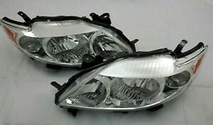2009 2010 Toyota Corolla Direct Replacement Headlight Set Clear Lens