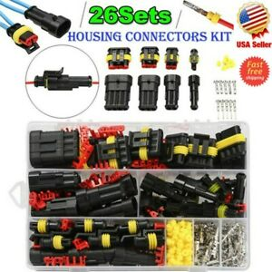 26 Set Car Waterproof Male Female 1 4pin Way Electrical Connector Plug Wire Kit