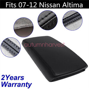 Fits 2007 2012 Nissan Altima Black Real Leather Center Console Armrest Cover