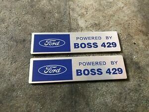 Powered By Boss 429 Ford Mustang Hemi Valve Cover Engine Emblems Plaques 2x