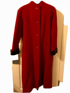Geiger Coat Classic Red Gray Vintage Wool Boiled Size 38 Red Long Switzerland