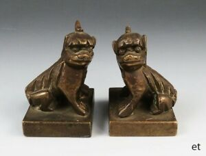 Pair Antique Mid 19th Century Bronze Chinese Foo Dog Chops Seals