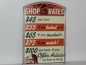 Vintage Style Shop Rates Gas Service Station Emboss Metal Signs Pump Oil New