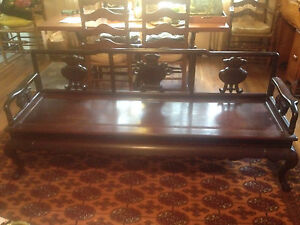 Chinese Antique Massive Carved Rosewood Living Room Sofa Bench