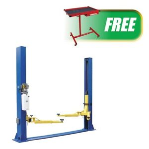 Two Post Floor Plate Lift W Free Mobile Work Cart Atd 2p9fpro Brand New