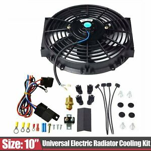 10 Electric Radiator Cooling Fan W Thermostat Relay Switch Mount Kit Black