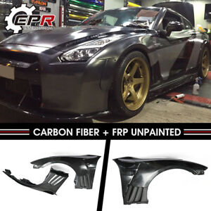 For Nissan Skyline Gtr R35 Frp Unpainted Epa Front Fender With Carbon Louver Fin