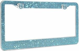 1 Lux Aqua Blue Diamond Crystal License Plate Frame Caps Made With Swarovski