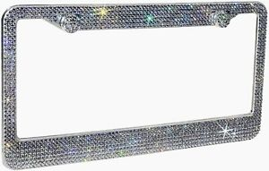 1 Luxury Grey Gray Diamond Crystal License Plate Frame Caps Made With Swarovski