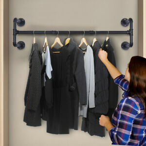 Industrial Pipe Clothes Rack Heavy Duty Detachable Wall Mounted Iron Garment Bar