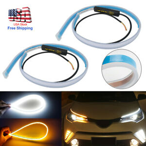 Flexible Car Soft Tube Guide Led Strip Lamp Drl Daytime Running Light Ultra Thin
