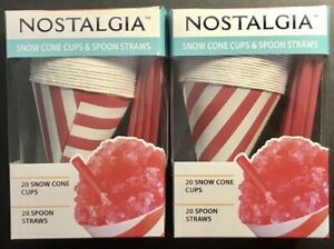 Nostalgia 2 Packs 20 Snow Cone Cups And 20 Spoon Straws Each Pack 40 Total Nib