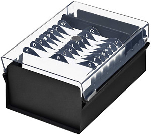 Business Card Holder Box File Storage With Crystal Plastic Lid Cover 3x5 Black