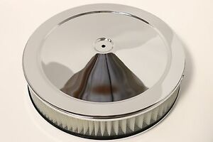 14 X 3 Round Chrome Air Cleaner Assembly Flat Base Chevy Sbc 350 Bbc 454 Paper