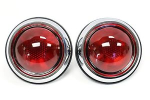 2 1950 Pontiac Hot Rod Style Glass Lens Tail Lights Rat Rod Pair Custom Retro