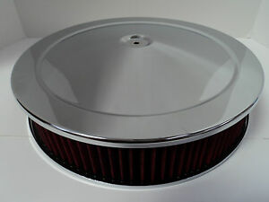 14 X 3 Round Chrome Red Washable Air Cleaner Drop Base Extreme Chevy Sbc 350